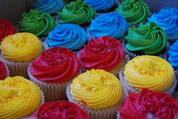 vanilla cupcakes, chocolate cupcakes, bright colour vanilla butter icing