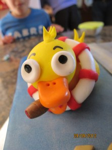 sugarpaste duck, cigar smoking duck, life preserver, fondant, handmade