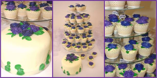 vanilla cupcakes, vanilla cake, purple piped butter icing roses, wedding