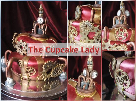steampunk, wedding cake, two tier