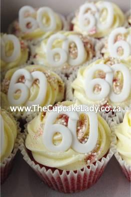 red velvet cupcakes, cream cheese icing, sugarpaste numbers