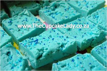 vanilla white chocolate fudge coloured blue