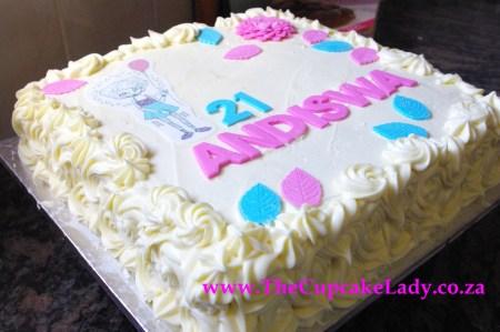 pink velvet cake, twenty first birthday, cream cheese icing, sugarpaste decorations