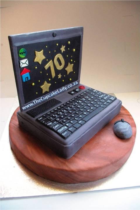 novelty cake, custom made decorations, laptop cake, chocolate cake, birthday cake