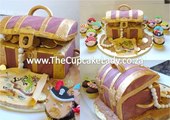 chocolate cake treasure chest novelty cake sugar paste pearls chocolate foil-wrapped coins pirate party treasure map