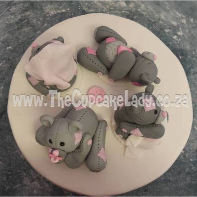 cake, sugar paste, fondant, cake topper, hand made, bear, pink and grey, baby