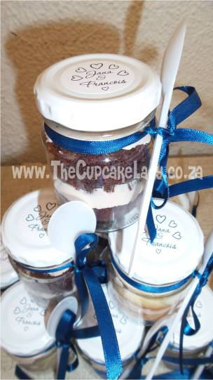 wedding favour, vanilla, chocolate, peach and navy, cupcake-in-a-jar