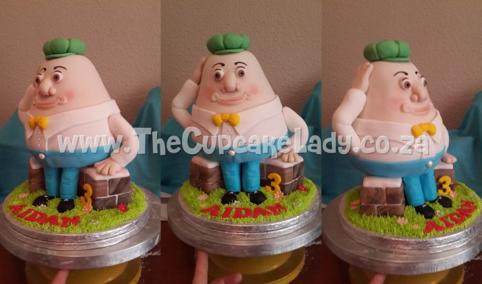 humpty dumpty cake, novelty cake, sculpted cake,