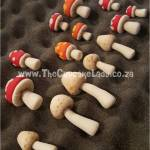 hand made sugar paste mushrooms and toadstools for a woodland themed cake, cake artist, sugar artist, Vorna Valley, Midrand