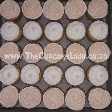 Midrand cake artist, cupcakes, cakes and sugar art. Vanilla cupcakes with white and pale caramel-coloured vanilla buttercream