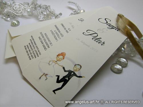 Wedding Bookmark Krem Pozivnica Za Vjencanje U Obliku Bookmarkera