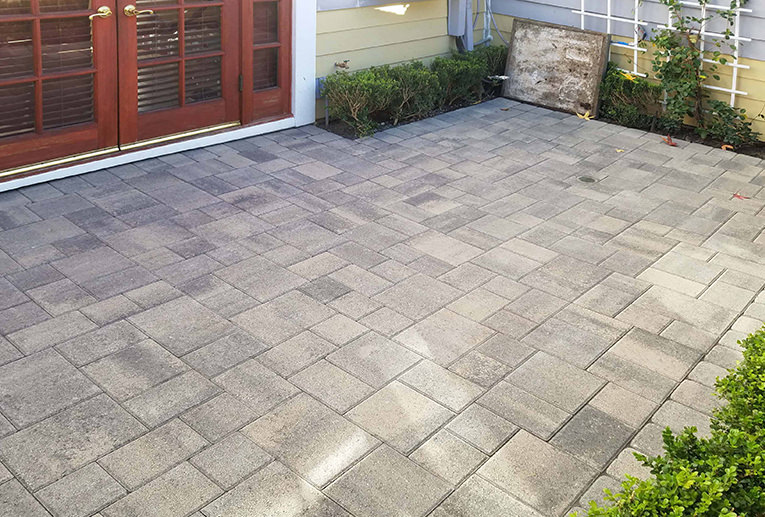 gray charcoal courtyard patio angelus
