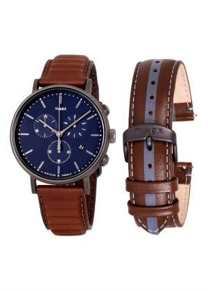 TIMEX Gents Wrist Watch Model FAIRFIELD Special Pack + Extra Strap TWG016800
