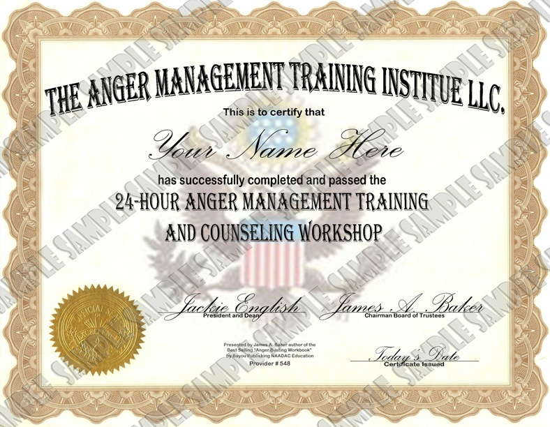 anger management certificate templates