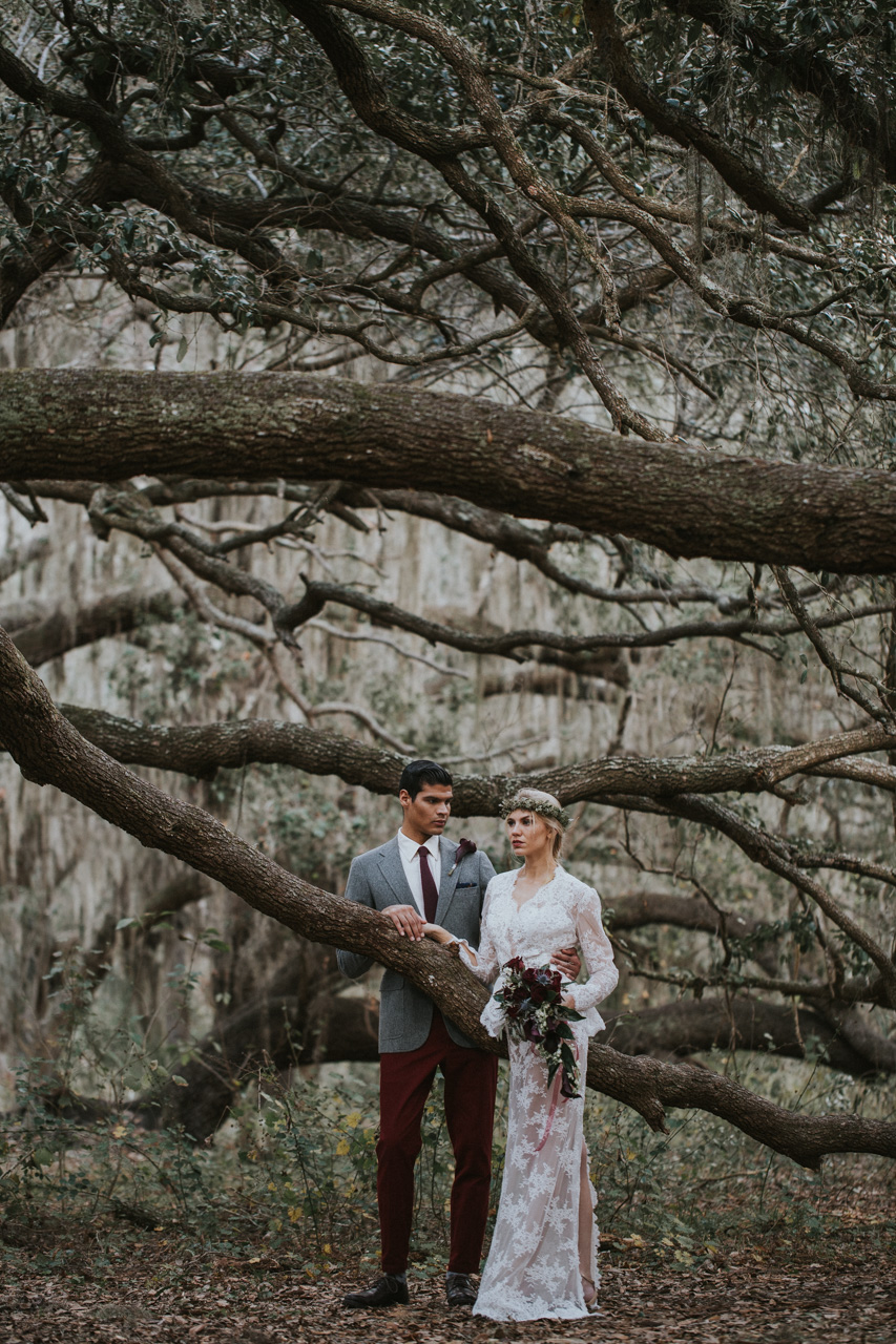 Orlando Florida Bride and Groom in the woods