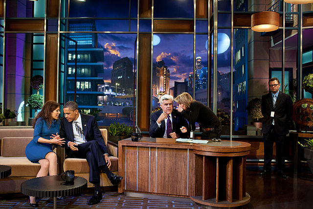 "President Barack Obama talks with co-producer Michele Tasoff during a break in taping ""The Tonight Show with Jay Leno"" at NBC Studios. Photo courtesy Wikipedia."