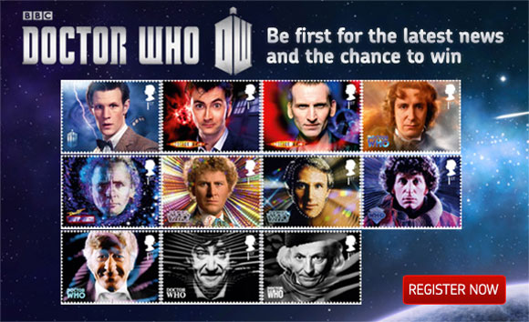 Doctor Who stamps. Photo courtesy the Doctor Who site