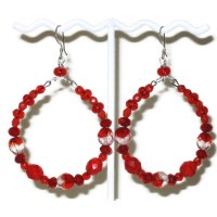 Large Red and Clear Beaded Hoop Earrings