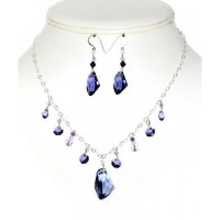 Purple Crystal Sterling Silver Necklace And Earrings