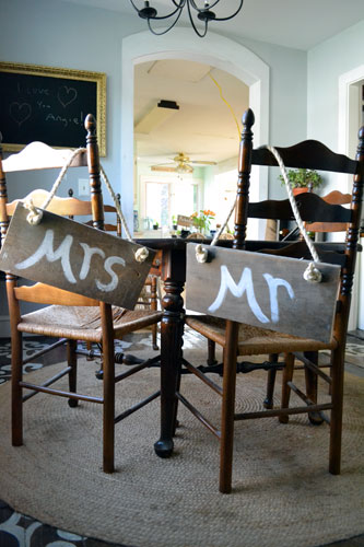 Mr. & Mrs. Rustic Chair Signs