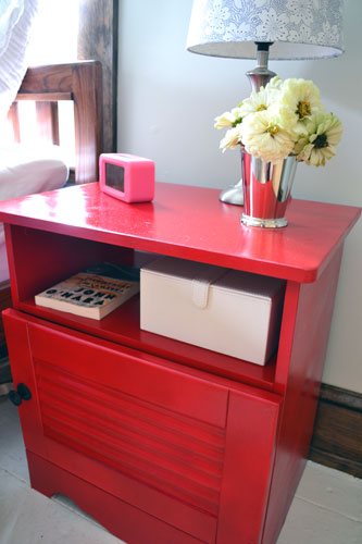 Red Nightstand In Master Bedroom