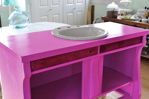 Bathroom Vanity Painted Pink
