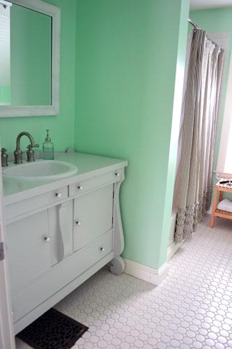 Gray Bathroom Vanity In A Mint Bathroom  Angies Roost