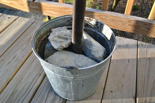 DIY Umbrella Stand Cement Blocks In A Bucket