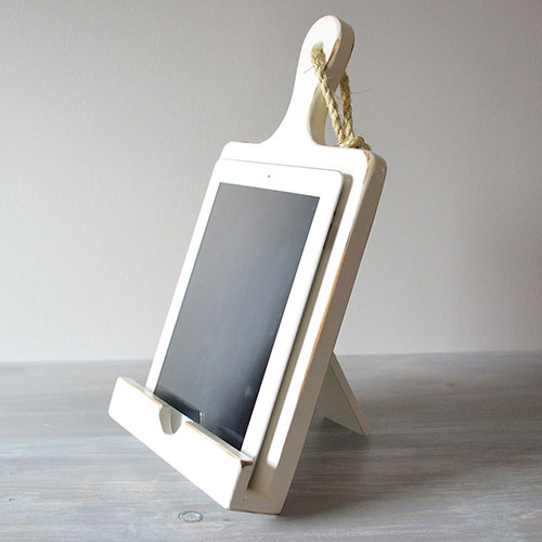 Distressed White iPad Stand