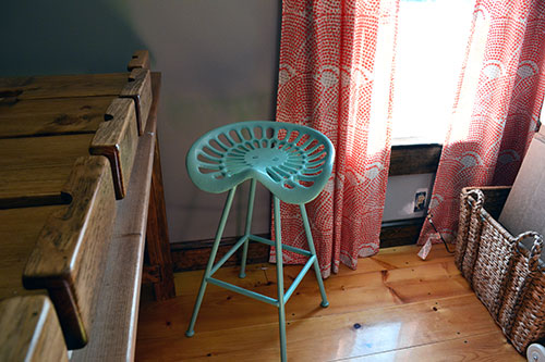 Turquoise Tractor Seat Stool In Craft Space