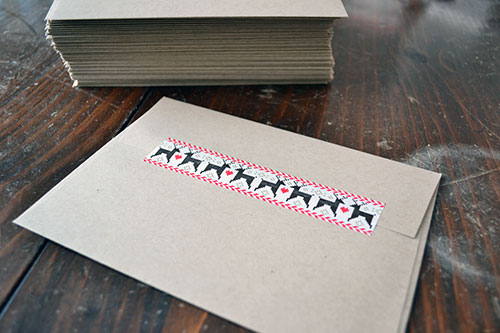 Sealing Christmas Cards With Washi Tape