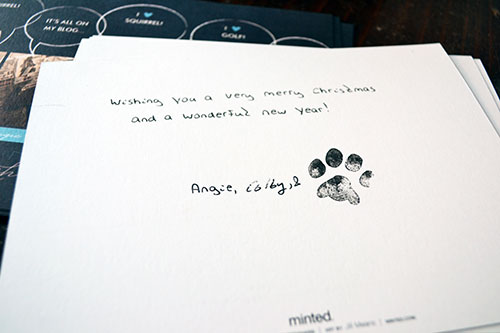 Signing Christmas Cards With Paw Print Stamp Angies Roost