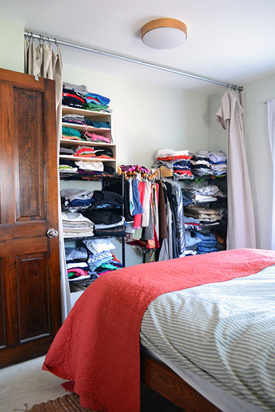 Master Bedroom Closet Before With Garage Shelving