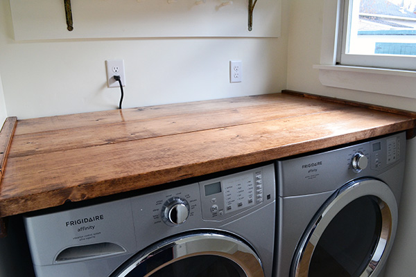 Rustic Wood Laundry Room Folding Shelf