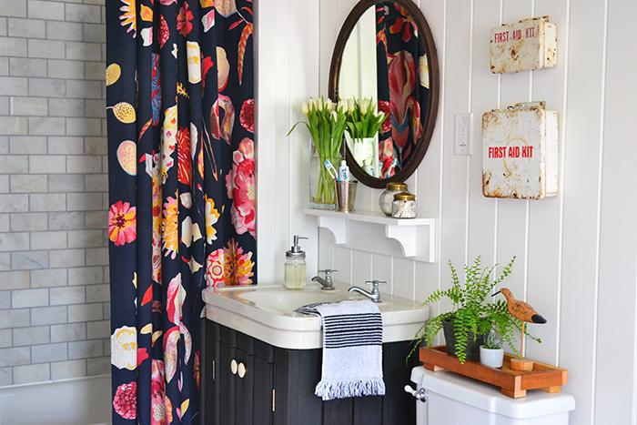 Curtains Ideas anthropology shower curtain : Farmhouse Guest Bathroom Renovation Reveal