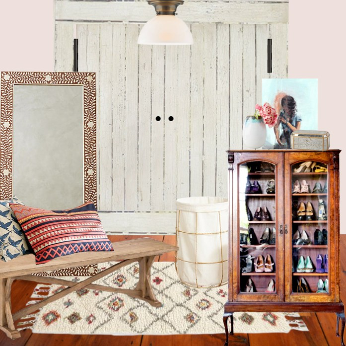 Master walkin closet design plan with rustic wood bench