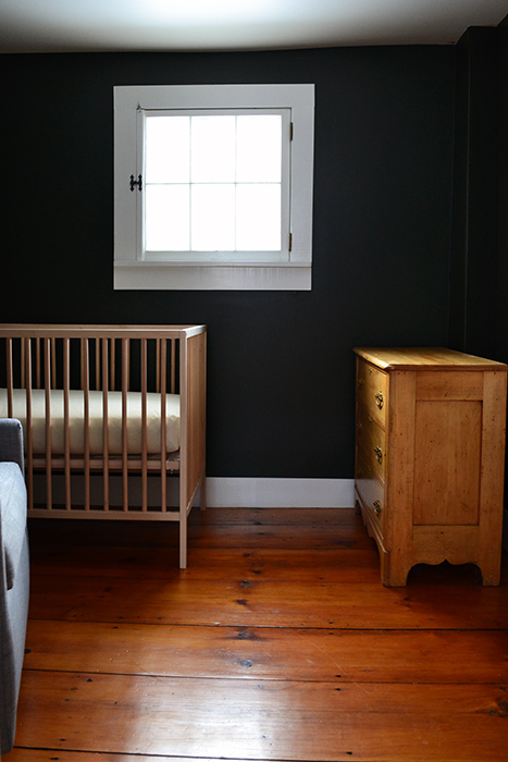 Layout for a small nursery featuring a West Elm glider, Ikea crib, and vintage dresser
