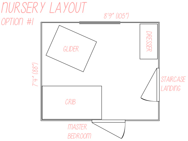 Small nursery layout floor plan option 1