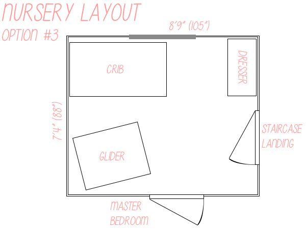 Small nursery layout floor plan option 3