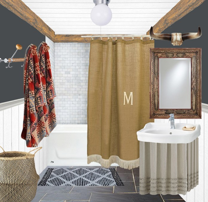 Bathroom design plan with dark walls, burlap shower curtain, and Pendleton towels