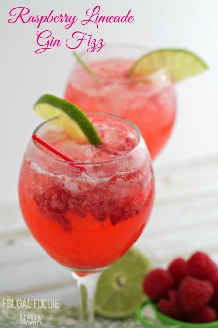 Raspberry Limeade Gin Fizz - The Frugal Foodie Mama