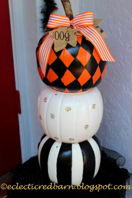 Decorative Stacked Pumpkins | Eclectic Red Barn