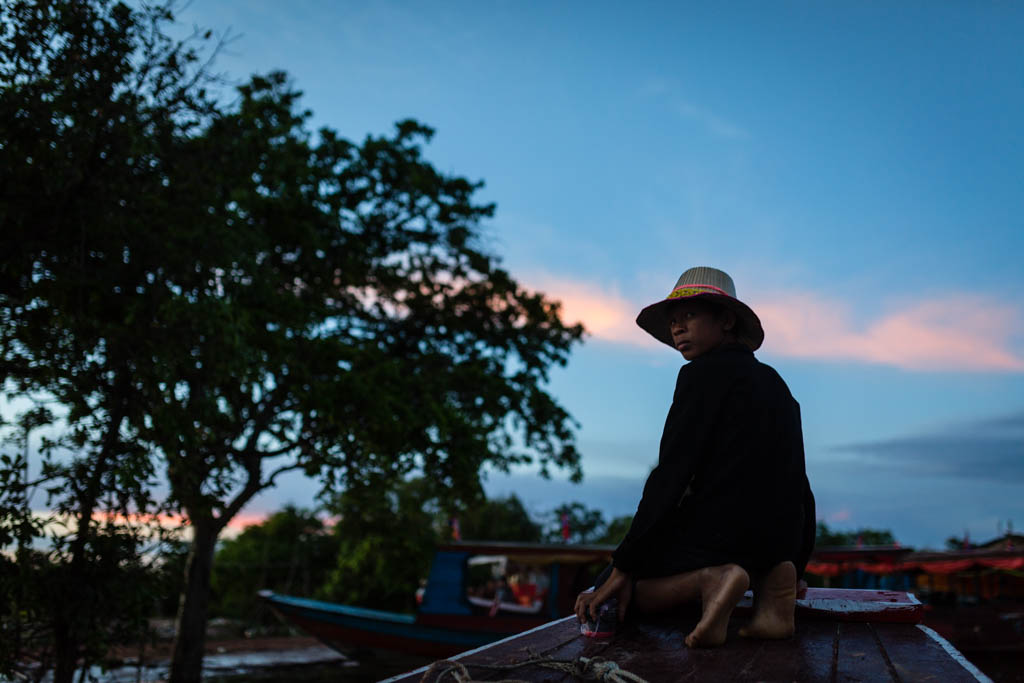 Boat driver on the Tonle Sap