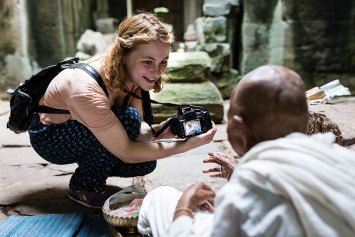 One of our guests with a nun at Preah Khan.
