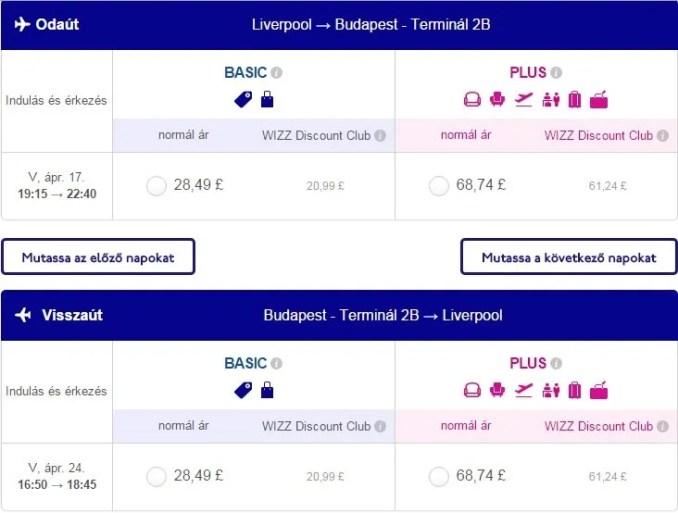 Liverpool-Budapest Wizz Air repülőjárat