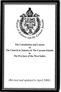 The Constitution and Canons of the Church in Jamaica & The Cayman Islands in The Province of the West Indies