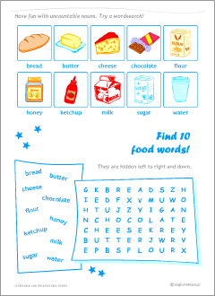 Countable vs uncountable nouns  Grammar worksheets for