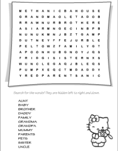 Wordsearches for teaching english to kids wordsearch worksheet also family vocabulary learning printable resources rh anglomaniacy