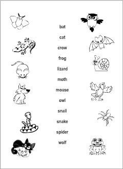 Halloween Animals vocabulary for kids learning English