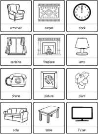 Living Room vocabulary for kids learning English ...